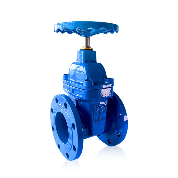 pn16 dn150 resilient seat flanged ductile iron gate valve with drain